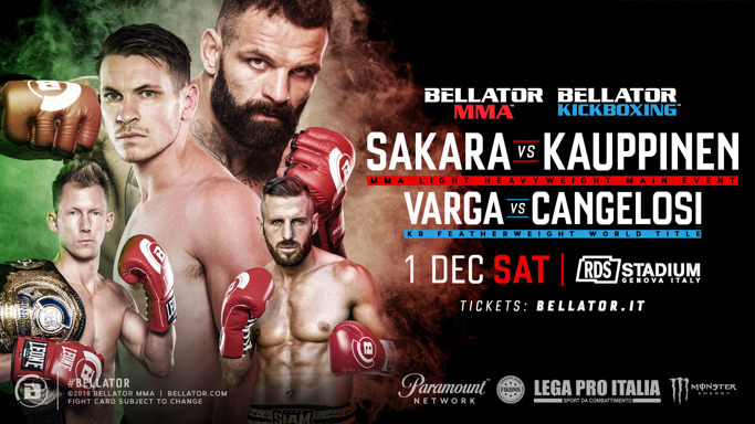 Alessio Sakara Headlines Bellator's Debut in Genoa, Italy on December 1 at RDS Stadium